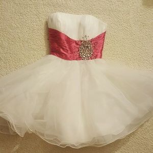 Sexy Strapless White Prom Dance Pink Waistband